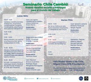 SEMINARIO. Chile cambió: Nuevos desafíos sociales y de liderazgo para el mundo del trabajo.